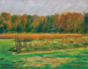 pastel of a field in the Fall
