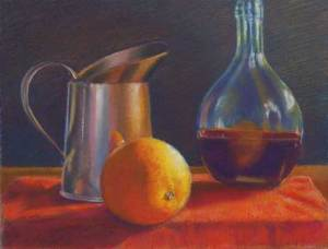 Copper Orange and Bottle Still Life