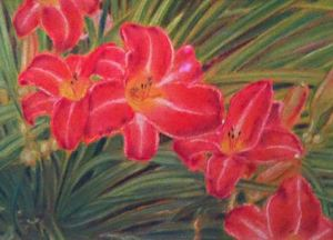 Detail of a pastel painting of flowers