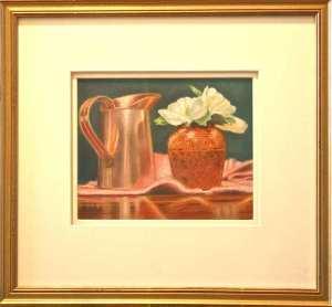 Camelias, framed still life