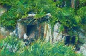 Grass and Stone pastel