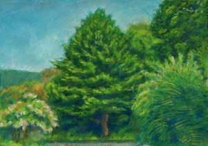 Green Trees landscape pastel
