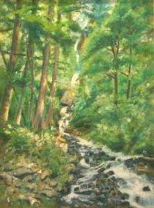 Oregon Falls landscape pastel