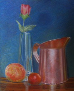 Rose with copper pitcher still life
