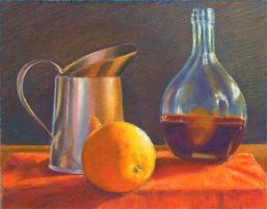 Copper Pitcher, Orange, Glass Bottle